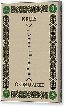Canvas Print featuring the digital art Kelly Written In Ogham by Ireland Calling
