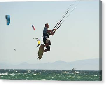 Kitesurfing Tarifa, Cadiz, Andalusia Canvas Print by Ben Welsh