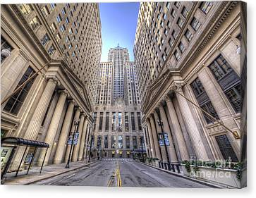 Lasalle Street In Chicago Canvas Print
