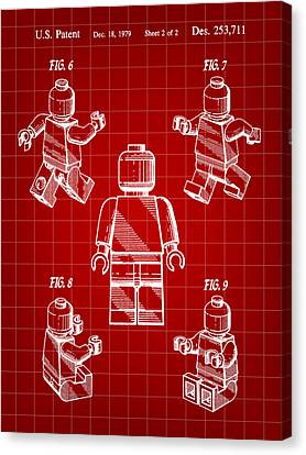 Lego Figure Patent 1979 - Red Canvas Print by Stephen Younts