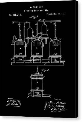 Louis Pasteur Beer Brewing Patent 1873 - Black Canvas Print by Stephen Younts