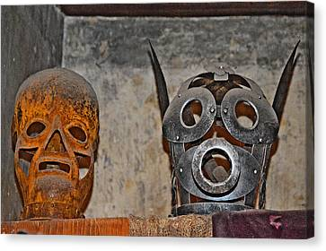 Masks Medieval Inquisition. Next To Charles Bridge. Prague. Czech Republic. Canvas Print by Andy Za