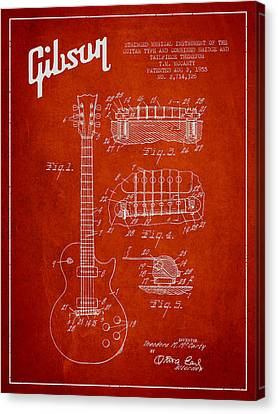 Mccarty Gibson Les Paul Guitar Patent Drawing From 1955 - Red Canvas Print by Aged Pixel
