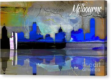 Melbourne Australia Skyline Watercolor Canvas Print by Marvin Blaine