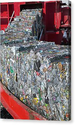 Bale Canvas Print - Metal Cans At A Recycling Centre by Peter Menzel