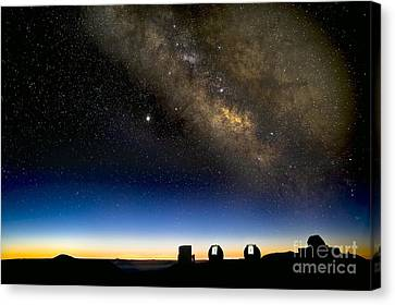 Milky Way And Observatories, Hawaii Canvas Print by David Nunuk