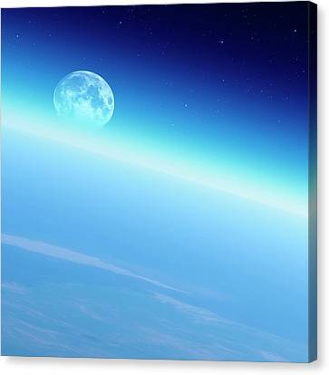 Moon Over The Earth Canvas Print