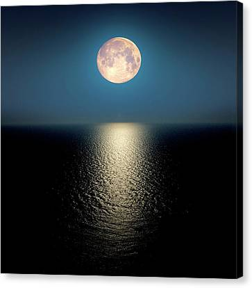 Moon Over The Ocean Canvas Print
