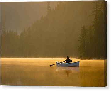 Morning Mist On The Lake Canvas Print by Kathy King