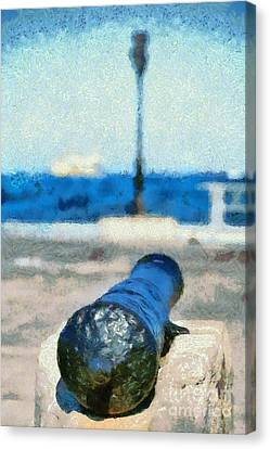 Old Cannon In Aegina Port Canvas Print by George Atsametakis