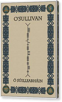 Canvas Print featuring the digital art O'sullivan Written In Ogham by Ireland Calling
