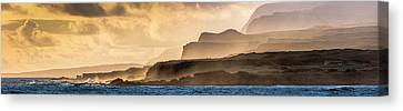 Panoramic Of Molokais North Shore Sea Canvas Print by Richard A Cooke Iii.