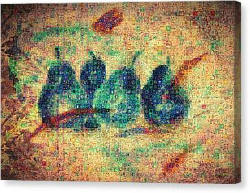 Canvas Print featuring the painting 4 Pears Mosaic by Paula Ayers