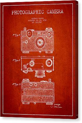 Photographic Camera Patent Drawing From 1938 Canvas Print by Aged Pixel