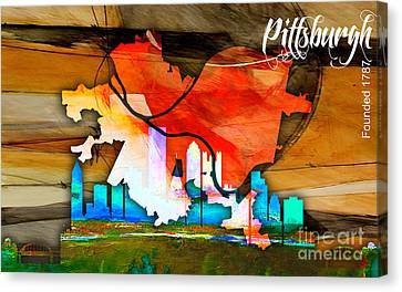 Pittsburgh Map And Skyline Watercolor Canvas Print by Marvin Blaine