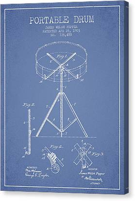 Portable Drum Patent Drawing From 1903 - Light Blue Canvas Print by Aged Pixel
