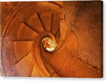 Portugal, Tomar, Spiral Stone Staircase Canvas Print by Terry Eggers