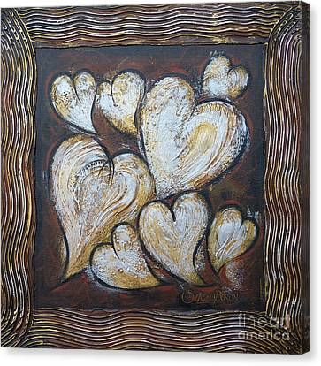 Canvas Print featuring the painting Precious Hearts 301110 by Selena Boron