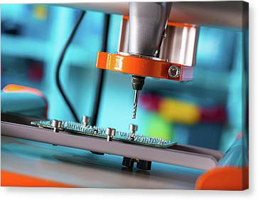Component Canvas Print - Printed Circuit Board Processing by Wladimir Bulgar