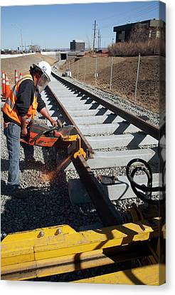 Railway Construction Canvas Print by Jim West