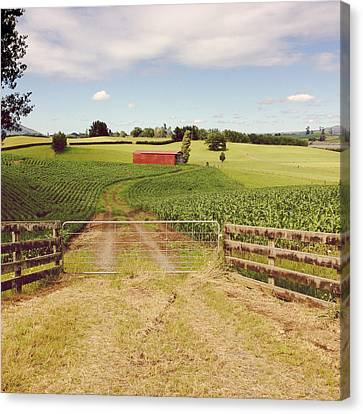 Red Barn Canvas Print by Les Cunliffe