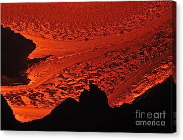 River Of Molten Lava Flowing To The Ocean Canvas Print by Sami Sarkis