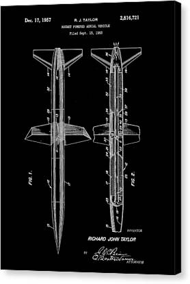 Jet-propelled Canvas Print - Rocket Patent 1953 - Black by Stephen Younts