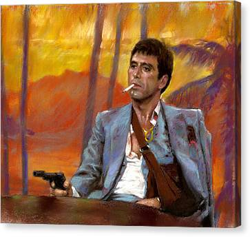 Canvas Print featuring the drawing Scarface by Viola El
