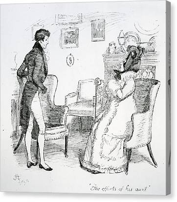 Scene From Pride And Prejudice By Jane Austen Canvas Print by Hugh Thomson