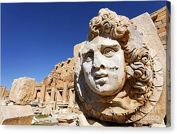 Gorgon Canvas Print - Sculpted Medusa Head At The Forum Of Severus At Leptis Magna In Libya by Robert Preston
