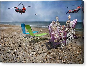 Helicopter Canvas Print - Search Party by Betsy Knapp