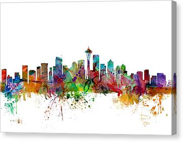 Seattle Washington Skyline Canvas Print by Michael Tompsett