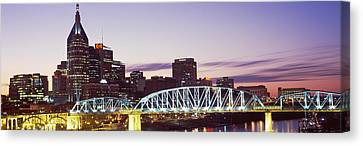 Skylines And Shelby Street Bridge Canvas Print by Panoramic Images