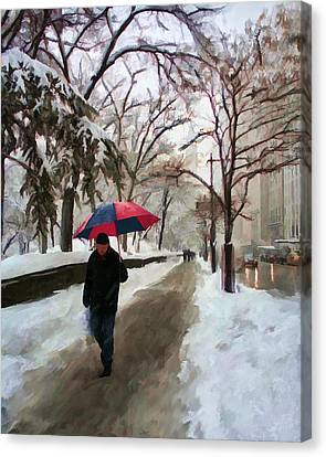 Snowfall In Central Park Canvas Print