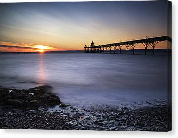 Stunning Landscape Image Of Old Pier Silhouette Against Vibrant  Canvas Print by Matthew Gibson
