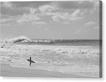 Surfer Standing On The Beach, North Canvas Print