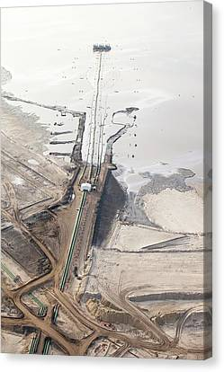 Tailings Pond At Syncrude Mine Canvas Print by Ashley Cooper