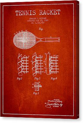 Tennnis Racket Patent Drawing From 1929 Canvas Print