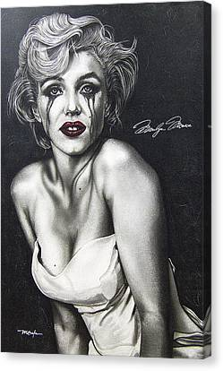 Canvas Print featuring the painting The True Marilyn by Dan Menta
