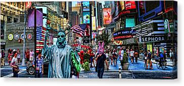 Times Square On A Tuesday Canvas Print by Lee Dos Santos