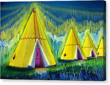 4 Tipis Canvas Print by Cindy McIntyre