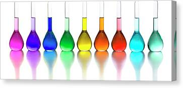 Transition Element Salts In Solution Canvas Print by Science Photo Library