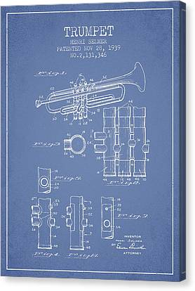 Trumpet Patent From 1939 - Light Blue Canvas Print by Aged Pixel
