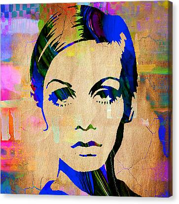 1960 Canvas Print - Twiggy Collection by Marvin Blaine