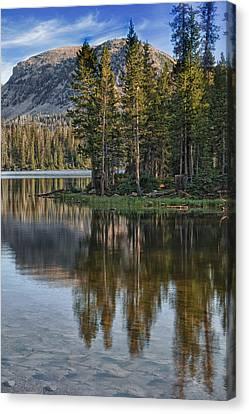 Mountain Reflection Lake Summit Mirror Canvas Print - Uinta Mountains Utah by Utah Images