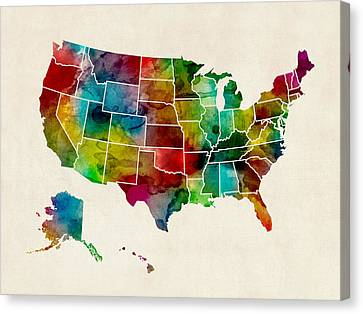 America Canvas Print - United States Watercolor Map by Michael Tompsett