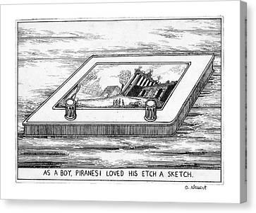 Etch A Sketch Canvas Print - As A Boy Piranesi Loved His Etch-a-sketch by Arthur Geisert