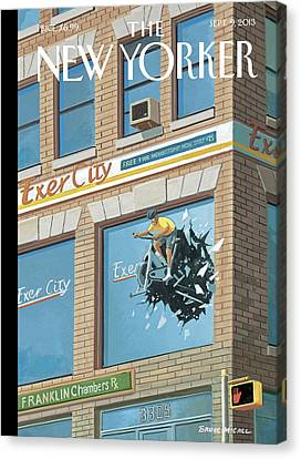 City Canvas Print - New Yorker September 9th, 2013 by Bruce McCall