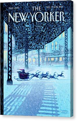 Subway Canvas Print - New Yorker December 19th, 2011 by Eric Drooker