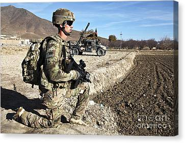 U.s. Army Sergeant Provides Security Canvas Print